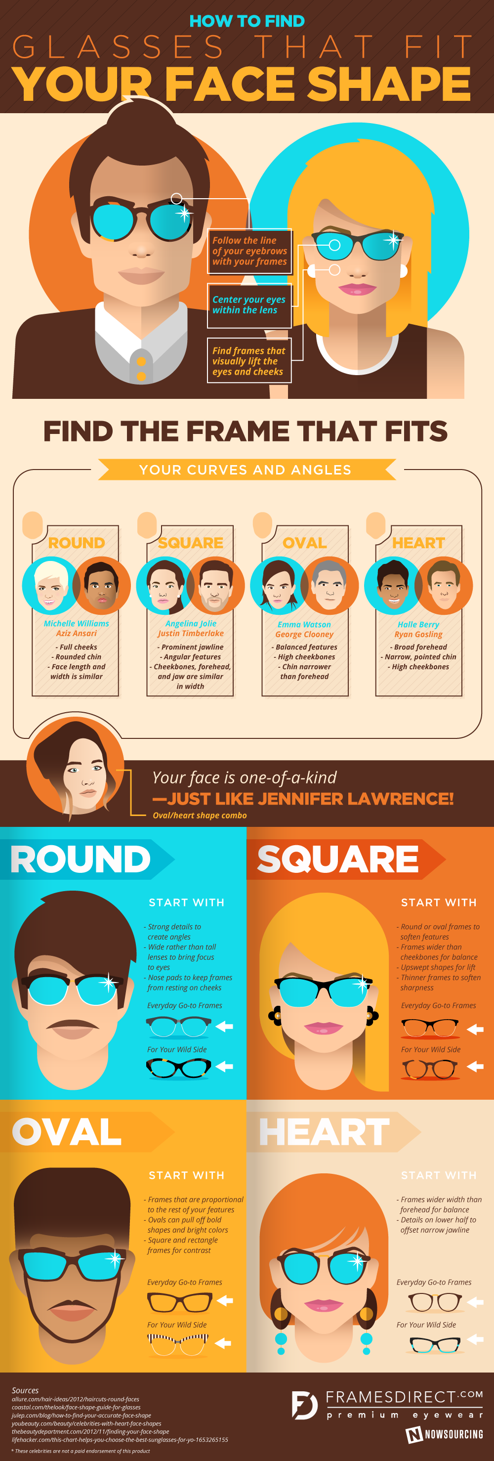 Glasses for your face shape Infographic