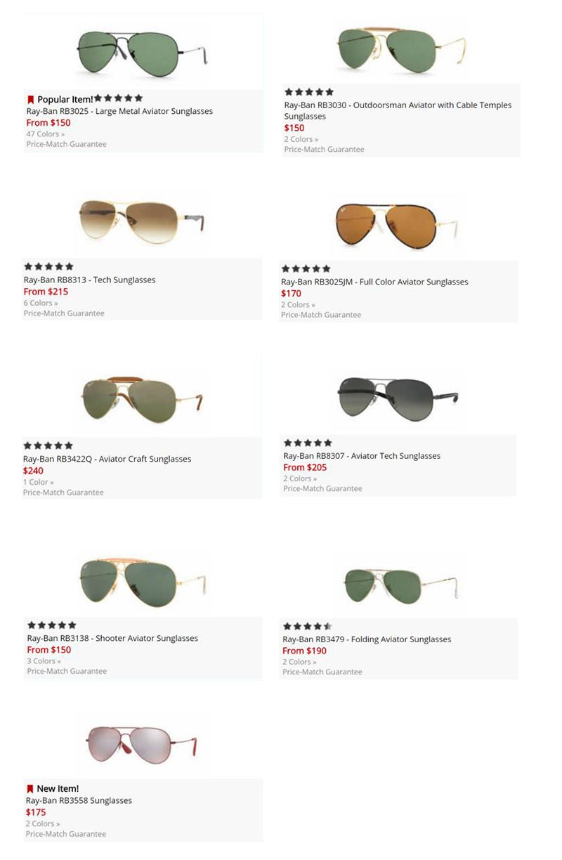 Ray ban aviator sizes framesdirect com
