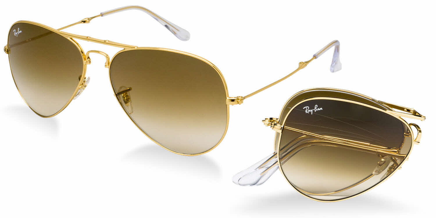 rayban glass  Ray-Ban RB3479 - Folding Aviator Sunglasses