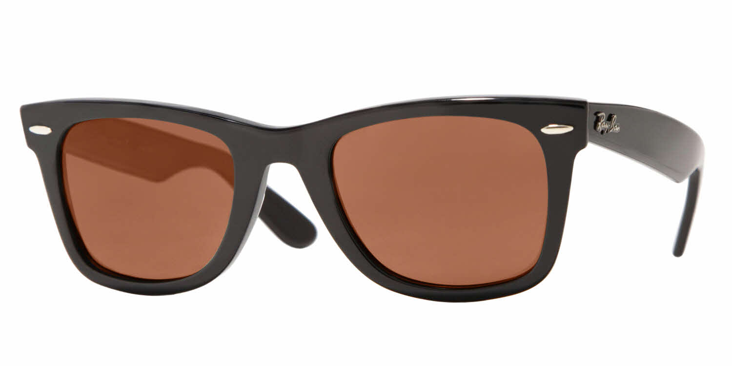 add prescription lenses to ray ban sunglasses  ray ban RB2140 blk brn wm angle