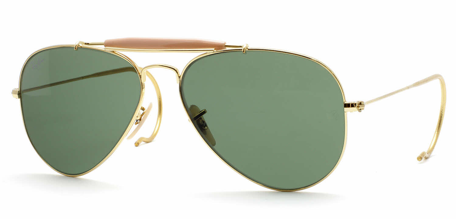 Ray ban rb3030 outdoorsman aviator with cable temples sunglasses - Ray ban aviator lenti a specchio ...