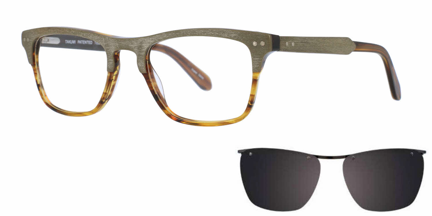 Takumi TK1023-With Magnetic Clip on Lens Eyeglasses